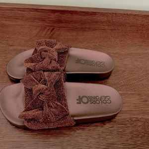 NEW Bronze slippers by color of California